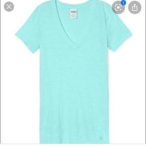 PINK VS Turquoise V-neck Tee
